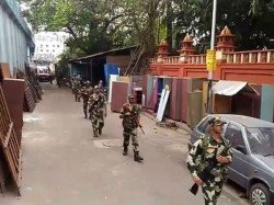 Central Forces Conduct Route March Kolkata Before Lok Sabha Elections