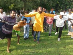 Bjp Candidate Sayantan Basu Campigns Through Work Out In The Morning In Basirhat West Bengal