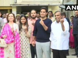 Mukesh Ambani And Family Cast Their Votes In Mumbai