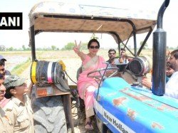 Bjp Mp And Mathura Candidate Hema Malini Drives A Tractor In Govardhan