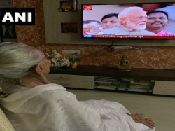 Heeraben Modi Mother Of Pm Narendra Modi Watching The Swearing In Ceremony