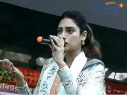Nusrat Jahan Fells Down To Break The Stage Of Tmc In Jhargram