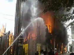 Devastating Fire At Rifle Range Road In Park Circus