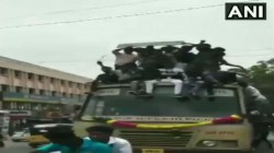 Bus Day Celebrations Video Of Students Climb Fall Off Moving Bus Goes Viral