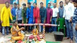 Preparation Of Durga Puja Starts In Dumdum By Dumdum Park Tarun Dal Worshipping Pole From 30th June