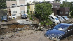 Residents Of East China S Fujian Recently Witnessed Landslide Swept Away Cars Parked The Road