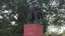 Lenin Statue Allegedly Painted By Bjp In Katwa In Bardhaman