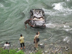 Private Car Fall Into Tista River After Skidding Near Coronation Bridge