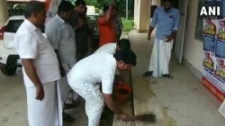 Youth Congress Activists Purify Pwd Office With Cow Dung
