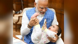 Narendra Modi Meets A Very Special Friend Know Who Is The Cute Baby