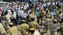 Police Charges Batton In Maldah School To Control The Unrully Situation In Malda School