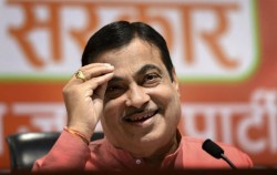Sick Nitin Gadkari Sits Down On Stage During National Antham