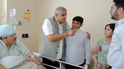Bengal Guv Jagdeep Dhankar Meets Arjun Singh At Hospital