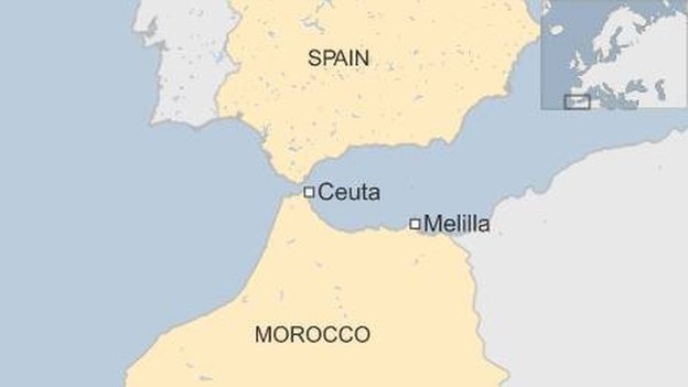 Map of Spain and Morocco, showing enclaves of Ceuta and Melilla