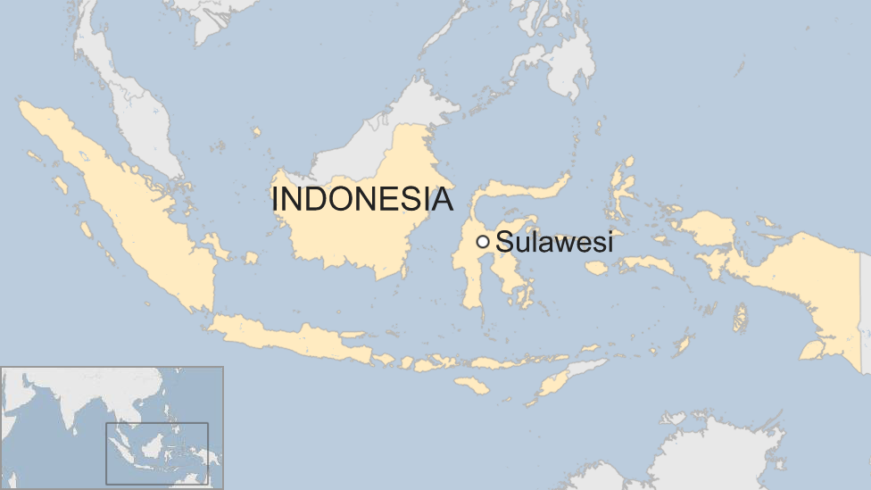 A BBC map showing the location of Sulawesi, an Indonesian island