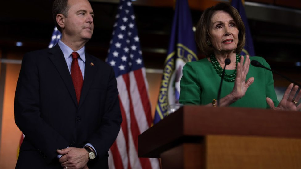 House Intelligence Committee Chairman Adam Schiff (left) and Speaker of the House Nancy Pelosi