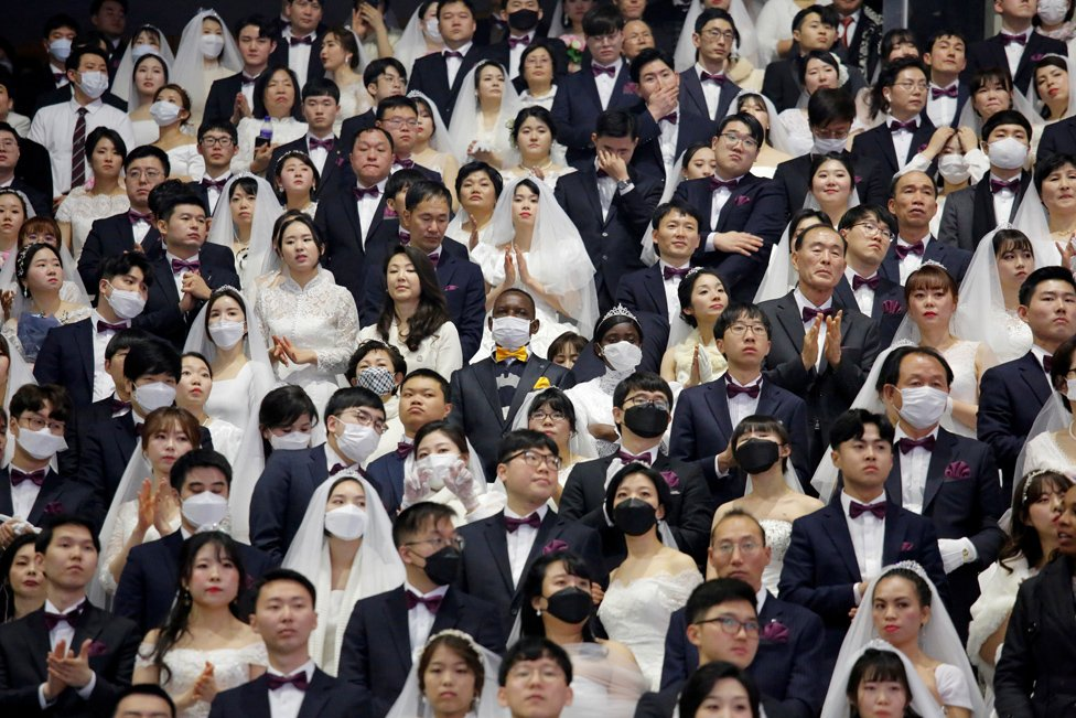 Couples at a mass wedding held by the Unification Church in Gapyeong-gun in South Korea.
