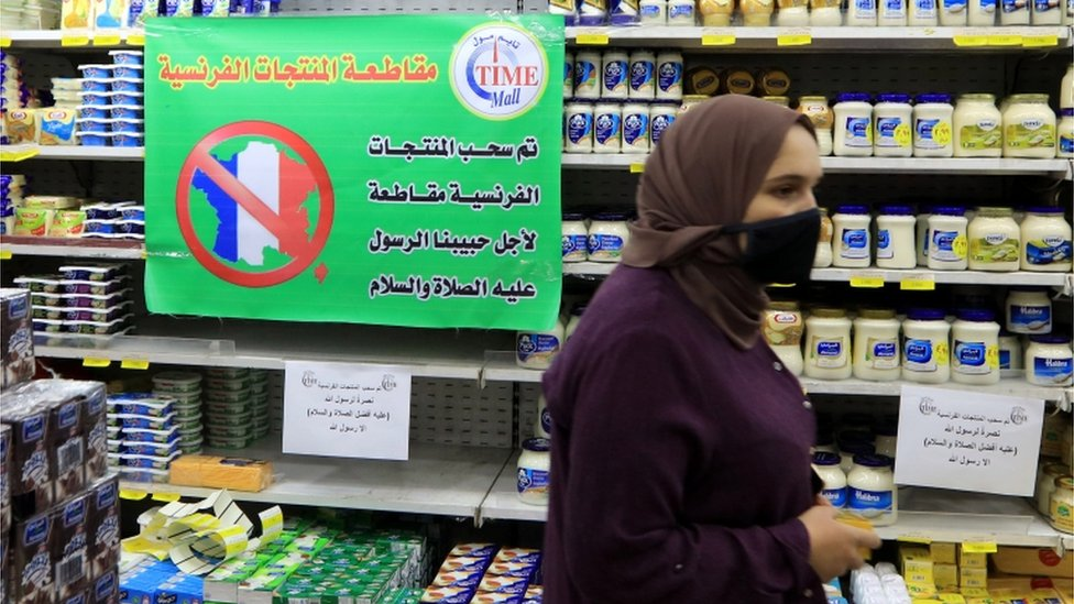 A sign in a Jordanian supermarket says French products are being boycotted